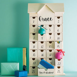 Personalised Wooden Christmas House Advent Calendar - christmas sale