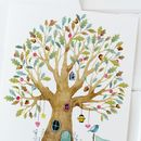 New Home Card With Whimsical Watercolour Tree
