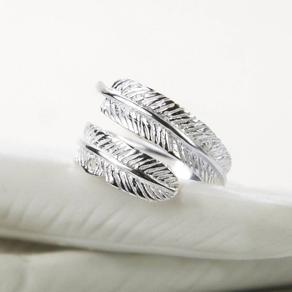 d8c480f50a9a6 Sterling Silver Angelic Feather Ring