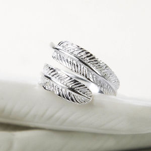 Sterling Silver Angelic Feather Ring - rings