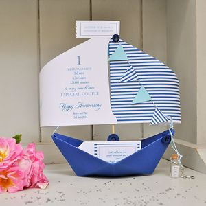 Personalised Anniversary Paper Boat Card Keepsake - 1st anniversary: paper