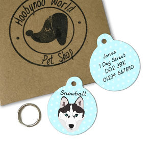 Husky Personalised Dog Name ID Tag - dogs