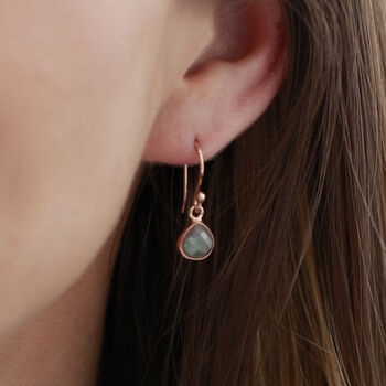 Labradorite Rose Gold Earrings