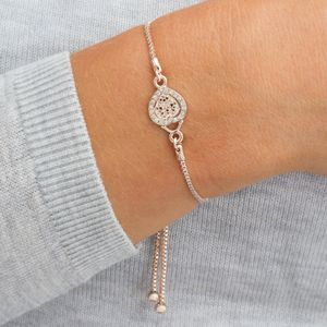 Personalised Pave Filigree Heart Bracelet