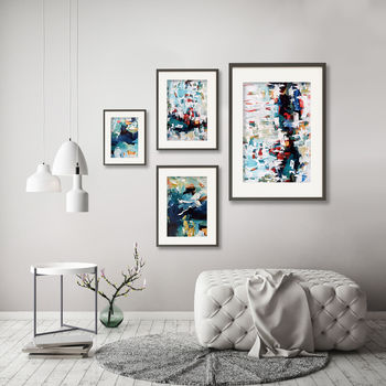 Abstract Art Set Of Four Prints Gallery Wall Colourful