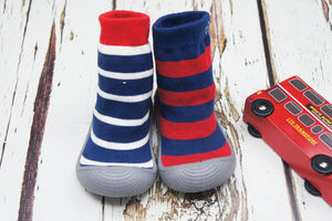 Blue Striped Sock Shoes