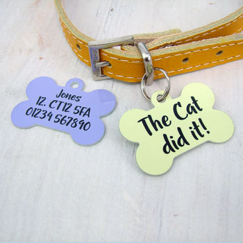 The Cat Did It Slogan Pet Tag
