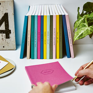 Set Of Five Personalised Spine Notebooks - writing