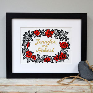 Personalised Floral Gift Print - dates & special occasions