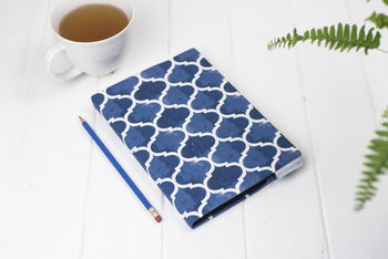 Isabel Sketchbook, Blue Geometric Fabric Cover