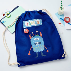 Boys Personalised Little Monster Bag