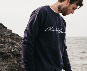'Make Waves' Embroidered Navy Blue Sweatshirt And Bag - gifts for him
