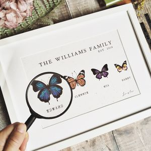Vintage Butterfly Botanical Family Print - gifts for families