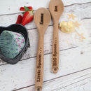 Personalised Big And Little Wooden Spoon Set