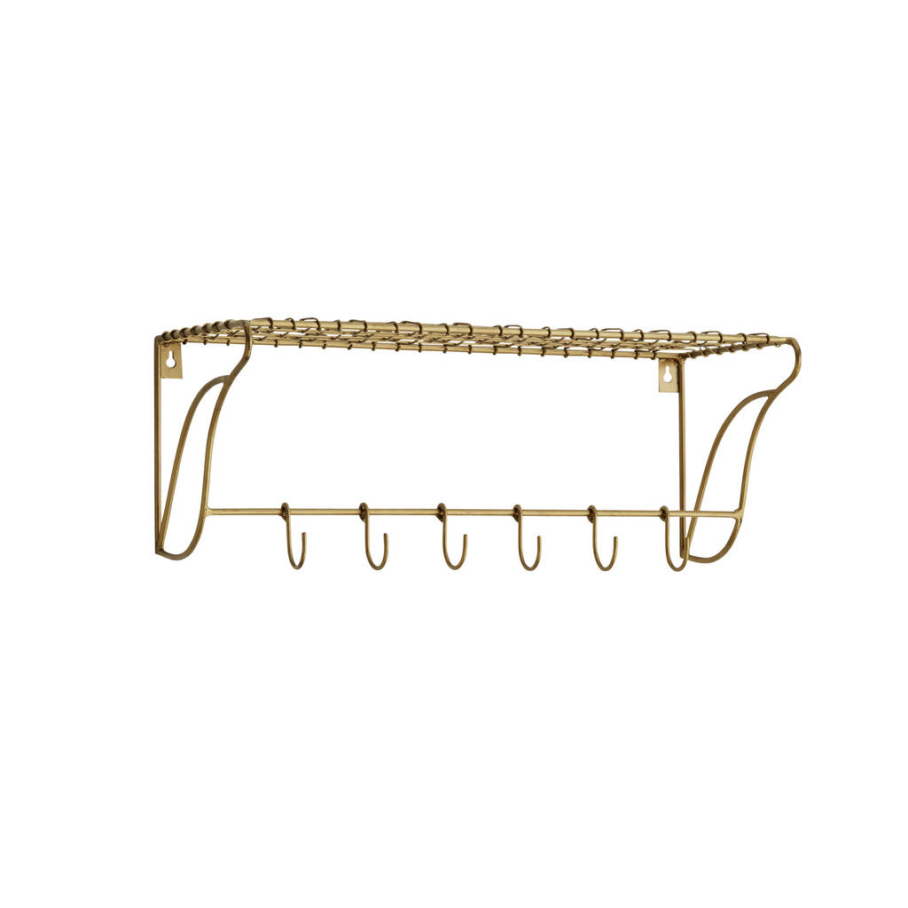 Gold Wire Shelf With Hooks