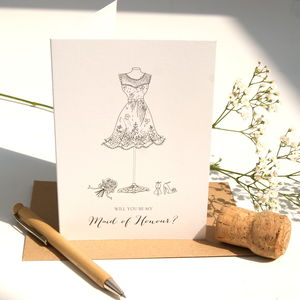 Will You Be My Maid Of Honour Card - cards sent direct