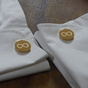 Personalised Infinity Cufflink Silver Rose Or Gold Tone