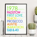 personalised 40th birthday NEON HUES