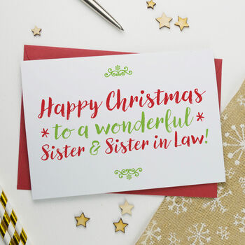 Christmas Card For Wonderful Sister And Sister In Law