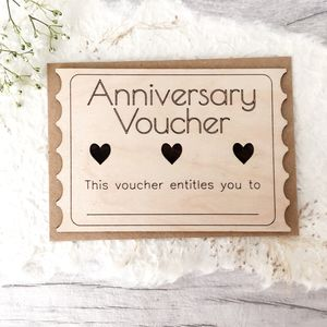 'Anniversary Voucher' Wooden Card - shop by category