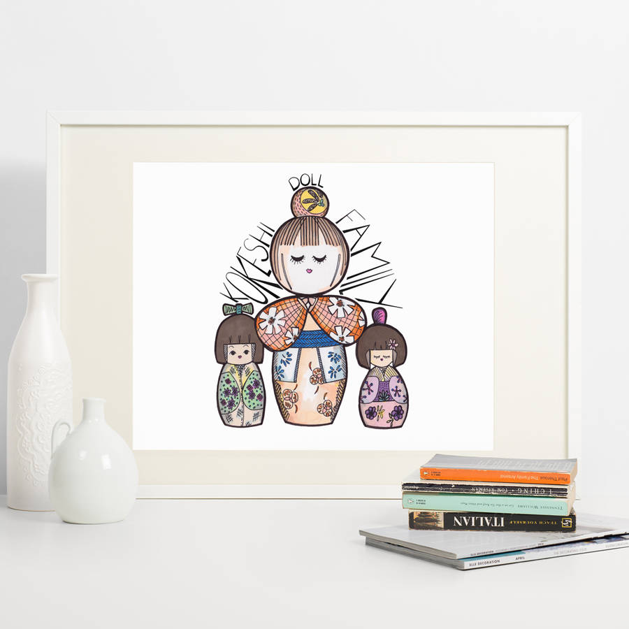 Kokeshi Doll Family Print