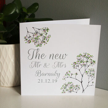 Personalised The New Floral Wedding Card