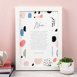 Ode To Mum Poem Print With Optional Frame