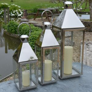 Tall Stainless Steel Candle Lantern - get garden ready
