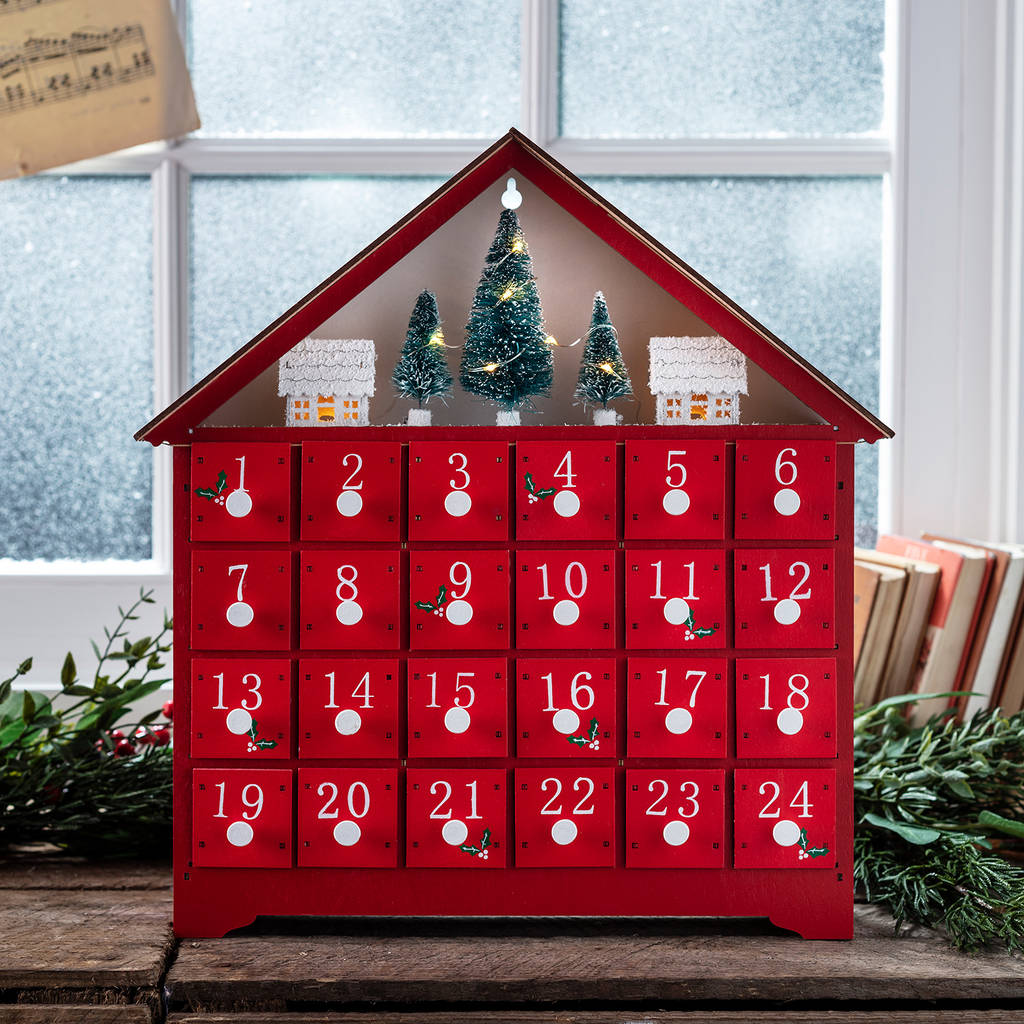denver red wooden light up advent calendar by lights4fun. Black Bedroom Furniture Sets. Home Design Ideas