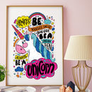 Unicorn Typographic Print