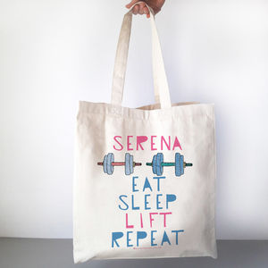 596377c568fd Eat Sleep Lift Repeat Personalised Gym Bag