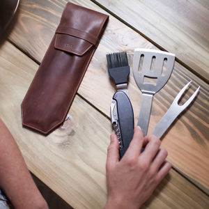 Bbq Multi Tool With Personalised Leather Sleeve