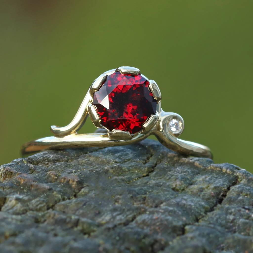 e936c21813e117 garnet ring in 18ct gold with diamond accent by lilia nash jewellery ...