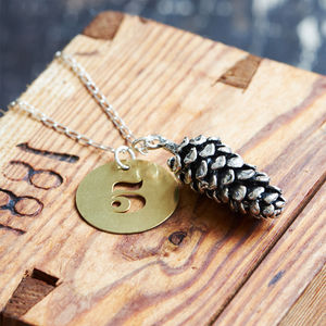 Pine Cone Charm With Brass Lucky Number Necklace