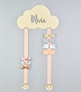 Personalised Cloud Hair Clip And Bow Hanger Large Bows - jewellery storage & trinket boxes