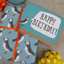 Luxury Green Puffin Gift Wrap And Card Set