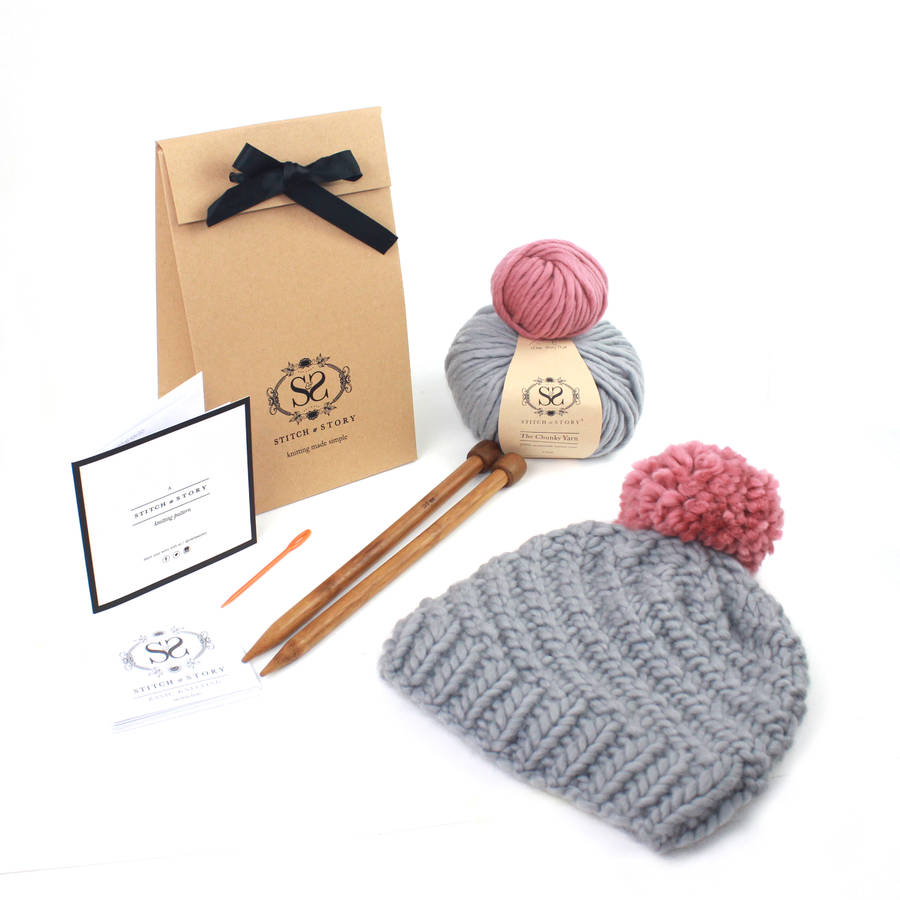 733e056218c make your own luca pom hat knitting kit by stitch   story ...