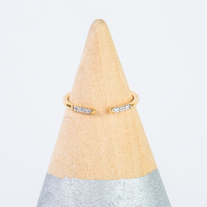 14k Gold Vermeil Delicate Diamond Open Ring - contemporary jewellery