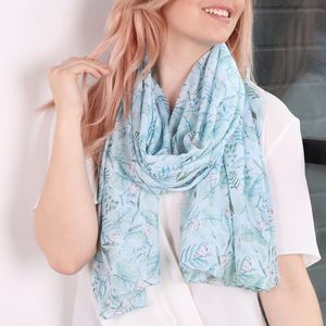 Teal Botanical Scarf - accessories gifts for sisters