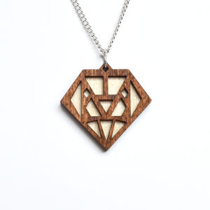 Contemporary Geometric Diamond Pendant Necklace D6