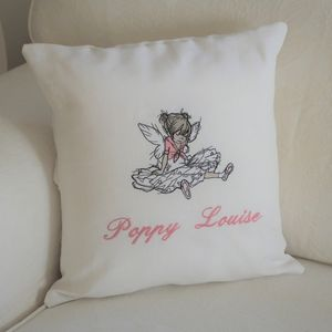 Personalised Cushion With Seated Ballerina Motif
