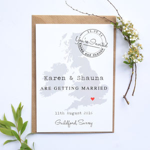 Location Map Wedding Invitation Postcard - wedding stationery