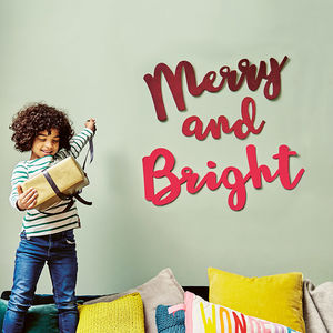 Merry And Bright Christmas Wall Decoration - kitschmas christmas