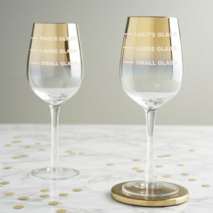 Personalised Drinks Measure Gold Wine Glass - drink & barware