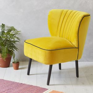 Yellow Velvet Mid Century Cocktail Chair - furniture