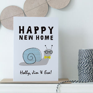 Personalised New Home Card With Snail
