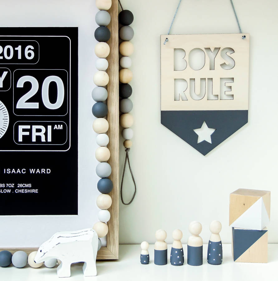Awesome Girls Boys Rule Wooden Nursery Hanging Flag Pennant Download Free Architecture Designs Salvmadebymaigaardcom