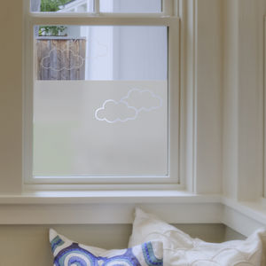 Clouds Frosted Window Film - bedroom