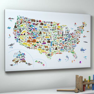 Animal Map United States Childrens Print - pictures & prints for children