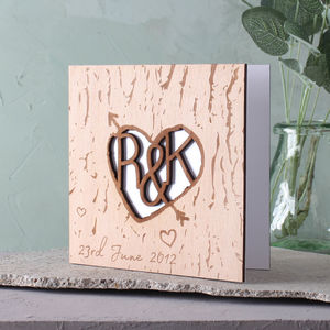 Wooden Anniversary Tree Carved Heart And Arrow Card